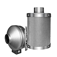 """iPower GLFANXINL4FILT4M 4"""" Carbon Filter with 1050 Plus IAV Australia Virgin Charcoal, Pre-Filter Included, Reversible Flange and High Cfm Inline Exhausting Fan Combo for Plant Germination"""