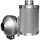 iPower 4 Inch 190 CFM Inline Fan, with 4 Inch Carbon Filter, grow tent ventilation system