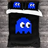 Lesliew Pac-Man Game Bedding, 3D Bedding Comforter Quilt Set Decorative 3 Piece Bedding Set with 2 Pillow Shams