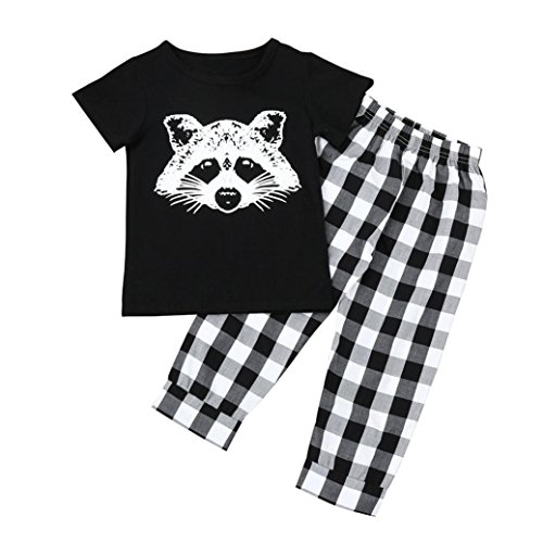 For 0-3 years old Kids,DIGOOD Toddler Infant Baby Boy Fox T-shirt Tops Plaid Pants Outfits Clothes Set (1.5-2 Years old, Black) Christma Jumper