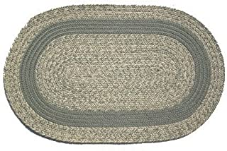 product image for Oval Braided Rug (3'x5'): Oatmeal Moss,- Moss Band