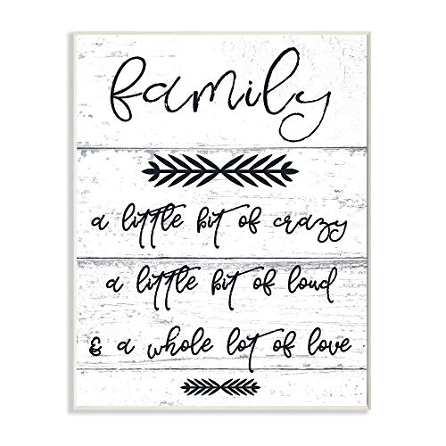 The Stupell Home Décor Collection A Little Crazy Loud Love Family Wall Plaque, 10x15, Multi-Color (Plaques Wall Family)