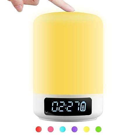 Lámpara táctil para la mesita de noche con bluetooth y altavoz y micrófono incorporados, reloj