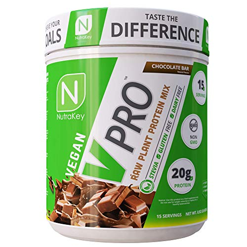 NutraKey V-Pro, Raw Plant Protein Powder with 20g of Protein - Organic, Vegan, Low Carb, Gluten Free Protein