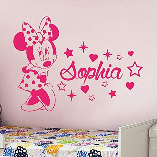 Name Wall Decal Minnie Mouse Vinyl Decals Sticker Custom Decals Personalized Baby Girl Name Decor Bedroom Nursery Baby Room Decor -