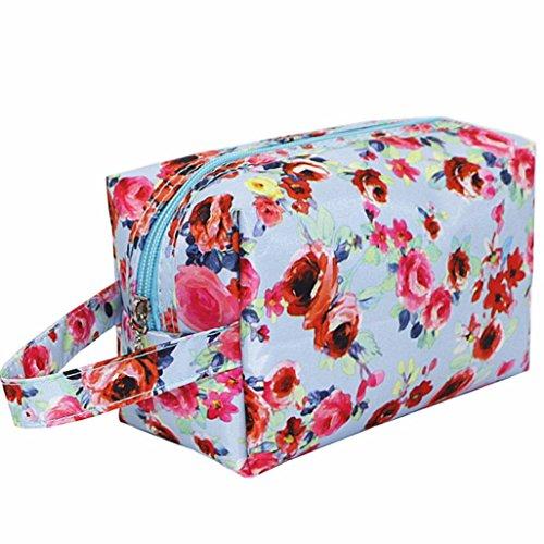 [Hatop Fashion Women Waterproof Nylon Portable Cosmetic Toiletry Bags Travel Storage Organizer (Sky] (Replica Makeup)