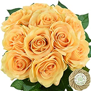 FiveSeasonStuff Fake Roses Wedding Flowers Real Touch Silk Artificial Flowers 12 Stems 29