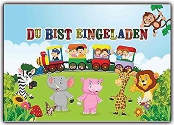 Einladungskarten Zum Kindergeburtstag Mit Kindern Im Zug U0026 Wilden Tieren (8  Stück)