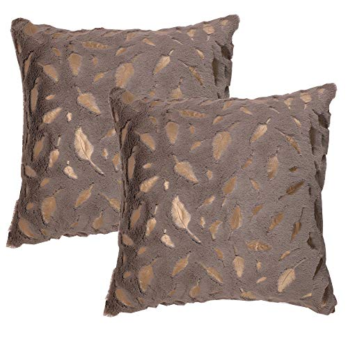 OMMATO Throw Pillows Covers 18 x 18,Set of 2 Brown Fur with Gold Leaves Soft Throw Pillows for Couch Bed,Tan Accent Home Decorative Square Cushions Cases Shams Pillowcases Farmhouse,45 x 45 cm - Gold Design Decorative Stitch