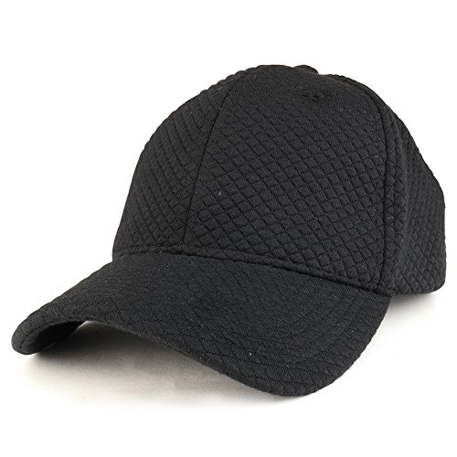 Trendy Apparel Shop Plain Mini Quilted 100% Soft Cotton Structured Baseball Cap - Black
