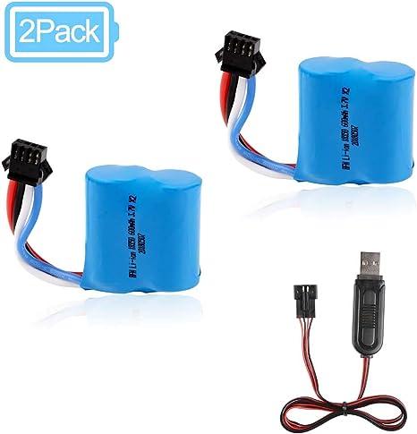Amazon.com: 2 baterías de iones de litio de 600 mAh, 3,7 V ...