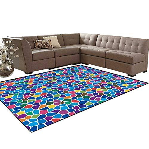 Modern Room Home Bedroom Carpet Floor Mat Vivid Rainbow Colored Mosaic Design Shapes in Blue Yellow Green Orange Red Artwork Door Mats Area Rug 6