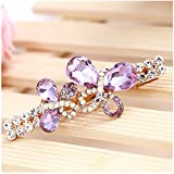 Casualfashion Luxury Crystal Hair Accessories Charms Bowknot Hair Clip Twinkling Wedding Bridal Hairpins (Purple)