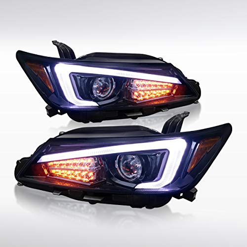 Autozensation For Scion tC Coupe Glossy Black LED Signal+LED Light Bar Projector Headlights Pair ()