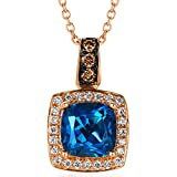 LeVian 1.00 Carat Cushion Cut Blueberry Blue Topaz 14K Rose Gold Pendant