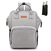 2-FNS Upgraded Diaper Bag Backpack, Breast Pump Backpack with USB Charging Port & Stroller Strap (GRAY)
