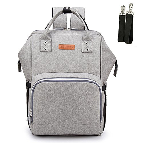 Cheap 2-FNS Upgraded Diaper Bag Backpack, Breast Pump Backpack with USB Charging Port & Stroller Strap (Gray)