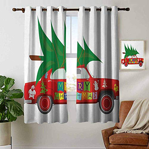Blackout Lined Curtains Christmas,Red Vintage Car with Xmas Tree Merry Christmas Quote and Snowman Elf,Vermilion Green White,Thermal Insulated,Grommet Curtain Panel 1 Pair 42