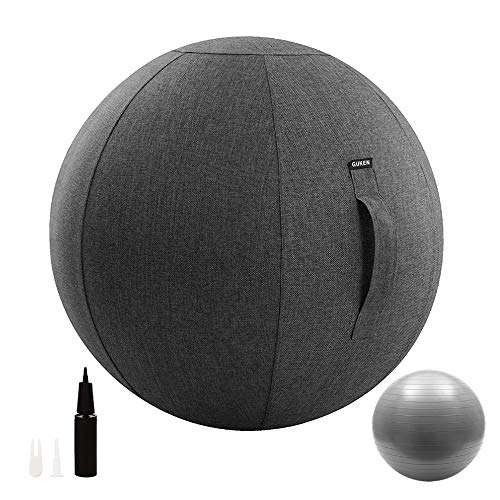 Guken Sitting Ball Chair with Cover, Exercise Yoga Ball for Office and Home Muscle Training Fitness, Stability Ball with Pump and Handle (Gray, 65cm)