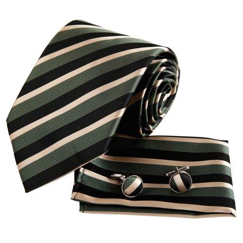 Epoint EAC1015 Green Ties Stripe Beautiful Gift Silk Handkerchiefs Cuffilinks Tie Set Certificate Gift