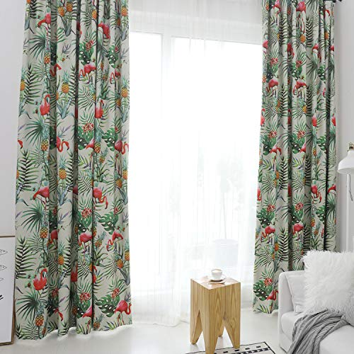 Polyester Printed Grommets - VOGOL Top Grommet Curtains Flamigo with Tropical Leaves Printed Polyester Fabric Window Treatment for Bedroom Living Room, Two Panels,60x106, Multicorlor