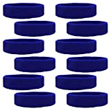 Kenz Laurenz 12 Sweatbands Cotton Sports Headbands Terry Cloth Moisture Wicking Athletic Basketball Headband (12 Pack) (Blue 12 Pack)
