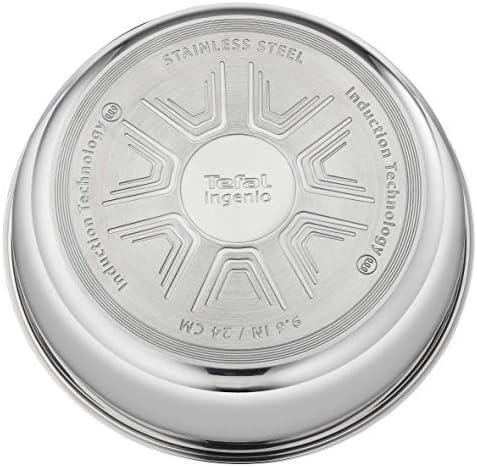 Tefal L942S314 INGENIO Pro INOX Set De 3 Pièces Sauteuse 24 cm + Couvercle en Verre + Poignée Noire Tous Feux Dont Induction