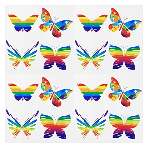 (Fiomia Pride Temporary Tattoos Rainbow Butterfly Stickers for Pride Parades Festival Waterproof Body Paints 4 Sheets 16Pcs)