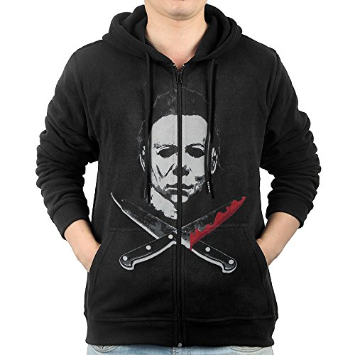 Vivblack Hoodie Sweatshirt Men's Michael Myers Long Sleeve Zip-up Hooded Sweatshirt Jacket Black