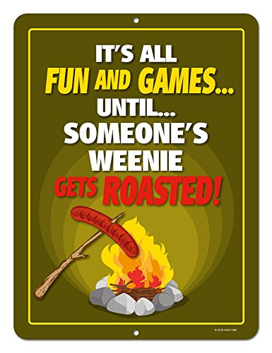 Honey Dew Gifts Funny Camping Signs, It's All Fun and Games Until Weenie Roasted, 9x12 Novelty Tin Camper Decor by Honey Dew Gifts