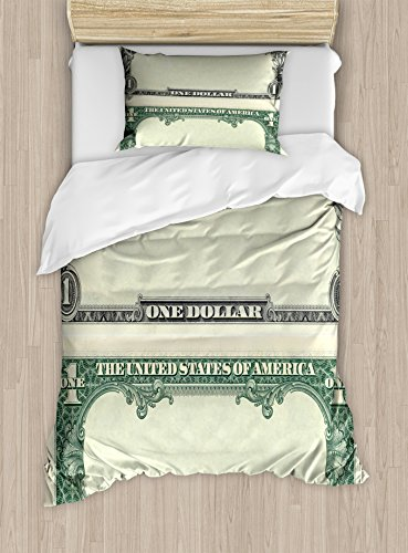 Money Twin Size Duvet Cover Set by Ambesonne, One Dollar Bill Buck Design American Federal Reserve Note Pattern Wealth Symbol, Decorative 2 Piece Bedding Set with 1 Pillow Sham, Pale Green Grey