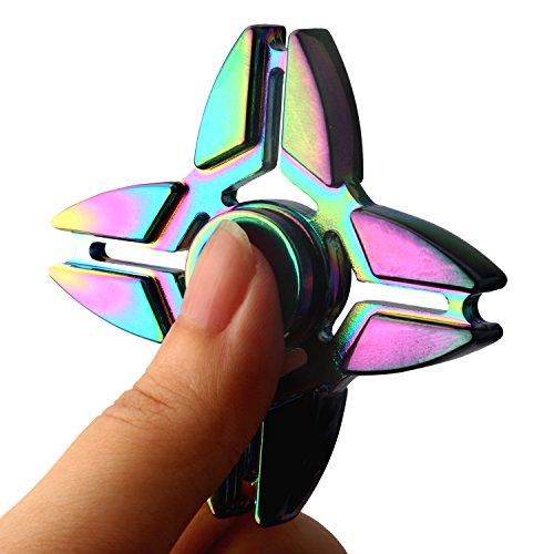 Metal Fidget Spinner Rainbow, ESARORA Metal Fidget Hand Spinner Stress Reducer Guranteed 3-5 Minutes Ultra Durable Stainless Steel Bearing Finget Spinner