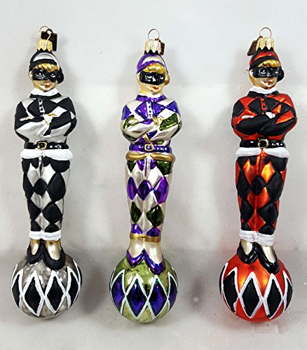 Eric Cortina Harlequin Jester Set of 3 Glass Ornaments Made in Poland New