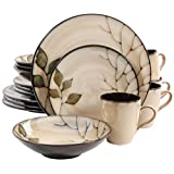Gibson Home 16-Piece Carrollton Reactive Glaze Dinnerware, Cream/Green