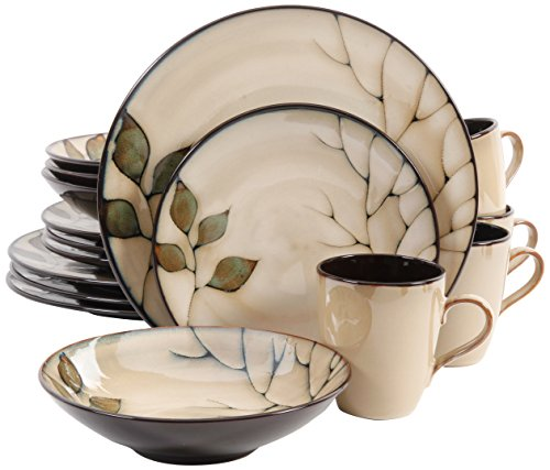 Gibson 16 Piece Carrollton Reactive Glaze Dinnerware, Cream/Green