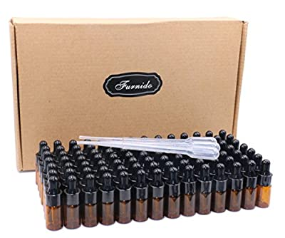 Pack of 100,3ml Amber Glass Dropper Bottle,Empty Sample Vial Glass Eye Dropper Aromatherapy Liquid Perfume Essential Oil Bottles with Glass pipette&Black Aluminum caps-Pipette&Funnel included by Furnido