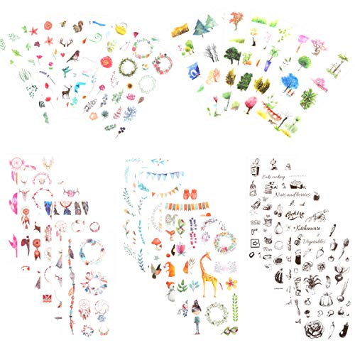 Cute Stationery Sticker Set (5 Sets, Assorted 30 Sheets) Kawaii Animal Spring Tree Floral Kitchenware Cake Cooking Tool Bear Giraffe Transparent Scrapbook Diary Journal Decor Craft DIY Label ()