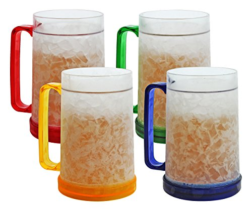(Double Wall Gel Frosty Freezer Mugs 16oz, Set of Four, Assorted Colors (Red, Yellow, Blue,)
