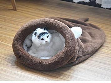 Mings Cómoda y Segura Cama para Mascotas Saco de Dormir de Dibujos Animados de Mascotas Nido de Mascotas Gato de Perro Cojín de Café: Amazon.es: Productos ...