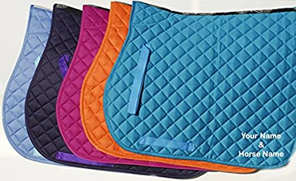 Rhinegold Personalised Cotton Quilted Saddle Cloth (Adult, Raspberry)