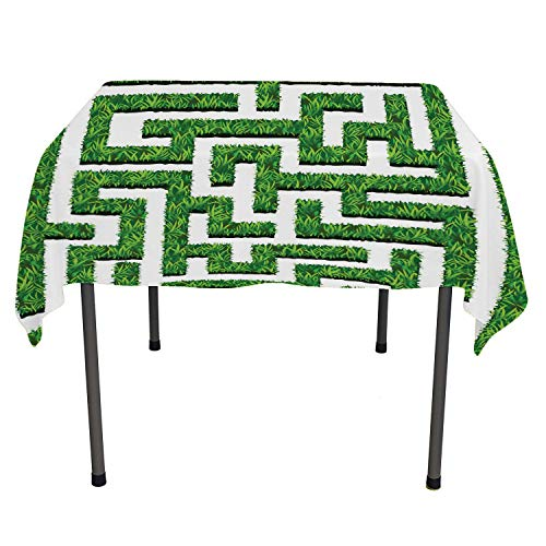 - Flyerer Boxwood Hedge Dining Table Cover Topiary Maze of Garden Bushes Complexity Cultivated Verdure Illustration Green and White Custom tablecloths Rectangle Tablecloth 60 by 120 inch