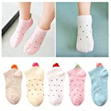 Kidstree Fashion Girls Socks Cotton Thin Toddler Crew Sock 5 Pairs Love Small(2-4)