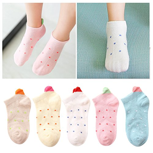 Kidstree Fashion Girls Socks Cotton Thin Toddler Crew Sock 5 Pairs Love Small(2-4) by Kidstree