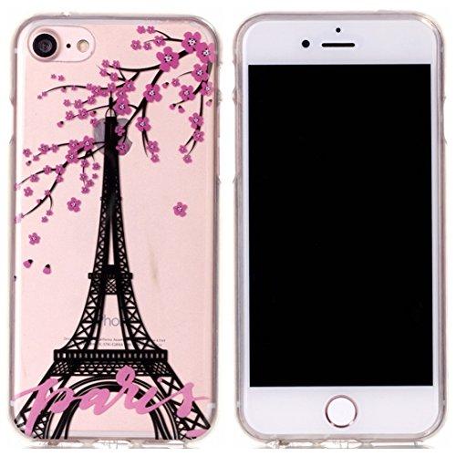 Voguecase® für Apple iPhone 7 4.7 hülle, Schutzhülle / Case / Cover / Hülle / TPU Gel Skin (Rot Blume Turm 02) + Gratis Universal Eingabestift