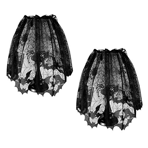 Estylv 2 Pieces Halloween Spider Web Lamp Shades Topper Lace Cobweb Window Door Fireplace Mantle Scarf Cover with 2 Pieces Ribbon for Halloween Themed Party Decoration (Topper Halloween Lampshade)