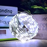 Lalapao Christmas String Lights 2 Pack Solar Powered Starry Fairy Lights 200 LED Outside Copper Wire Waterproof Xmas Decor Lighting with 8 Modes for Outdoor Indoor Tree Bedroom Garden Party (White)