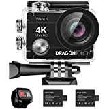 Dragon Touch 4K Action Camera 16MP Vision 3 Underwater Waterproof Camera 170° Wide Angle WiFi Sports Cam with Remote 2 Batteries and Mounting Accessories Kit (Black)