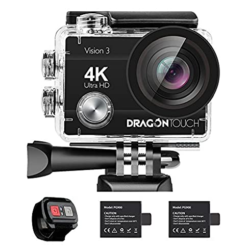 - 51YhkfAFXSL - Dragon Touch 4K Action Camera 16MP Vision 3 Underwater Waterproof Camera 170° Wide Angle WiFi Sports Cam with Remote 2 Batteries and Mounting Accessories Kit