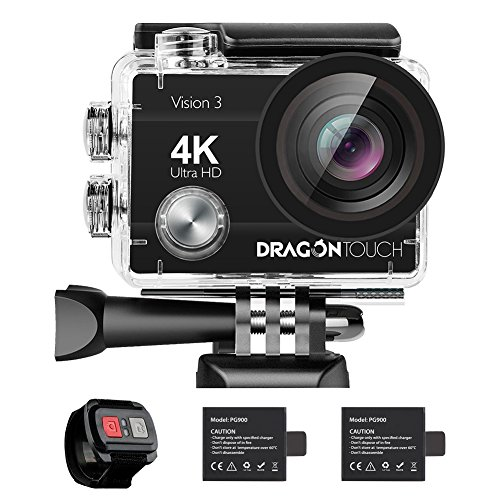 Dragon Touch 4K Action Camera 16MP Vision 3 Underwater Waterproof Camera 170° Wide Angle WiFi Sports Cam with Remote 2 Batteries and Mounting Accessories Kit (Head Camera)