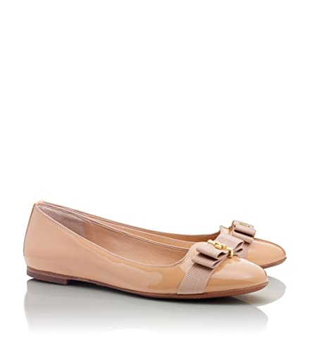 beige patent leather flats